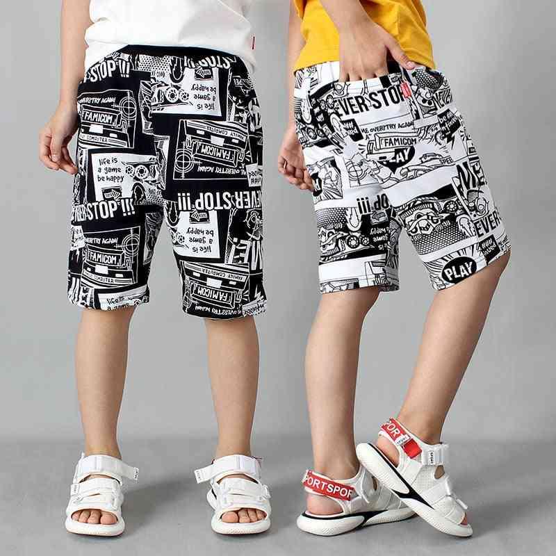 Harajuku Comic Print, Summer Breathable-beach Shorts For Kids