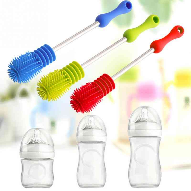 360 Degree Rotary With Long Handle Scrubbing Brush For Feeding Bottles