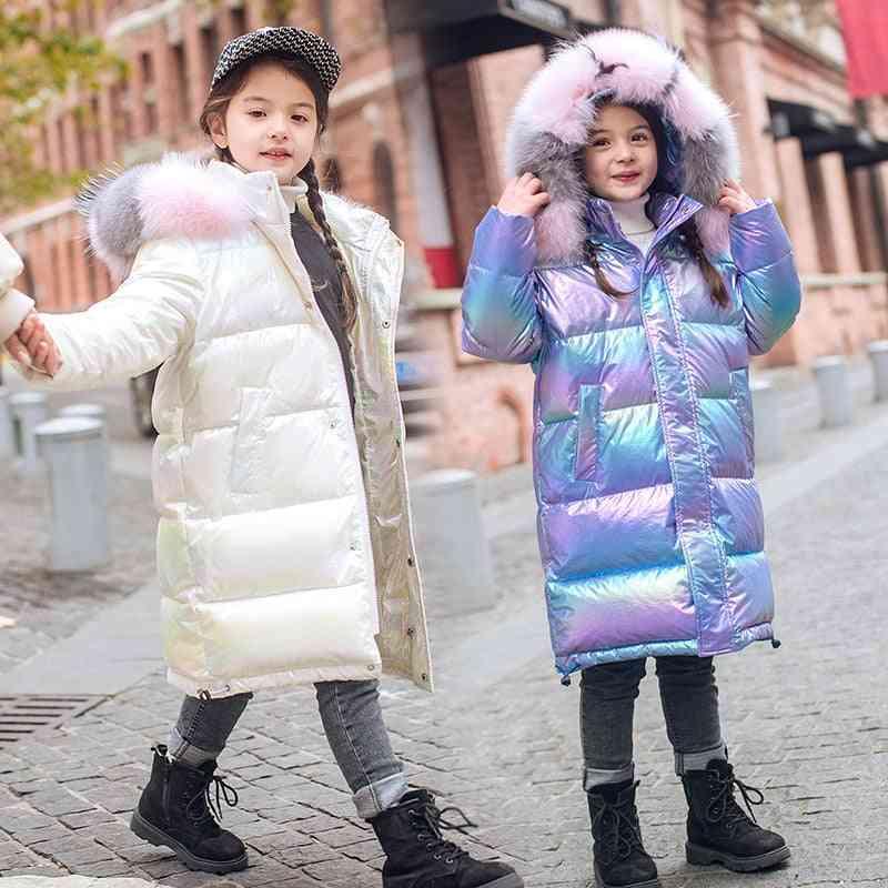 Winter Clothing Waterproof Real Fur Hooded Down Coat Jacket For Girl
