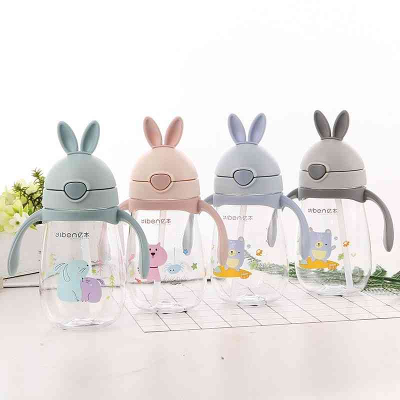 280ml Cute Rabbite Design Baby Feeding Cup Bottle With A Straw