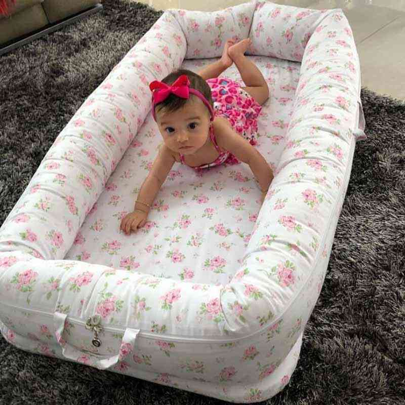 Square Shaped Baby Nest Bed With Pillow-cotton Cradle Bumper