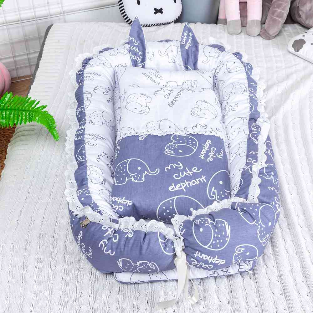 90*55cm Portable Baby Nest Bed With Pillow Cushion For &