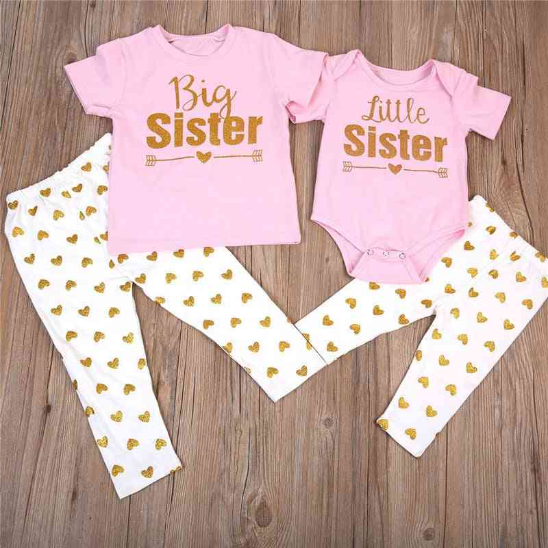 Newborn Baby Sisters Matching Romper, T-shirt Tops +pants Leggings Outfit Sets