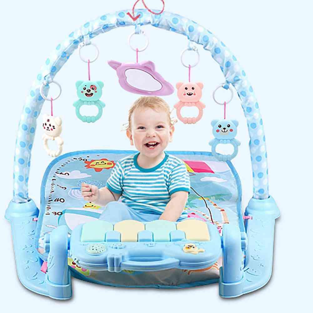 Infant Baby Hanging Cartoon Animal Rattles Piano Music Play Mat