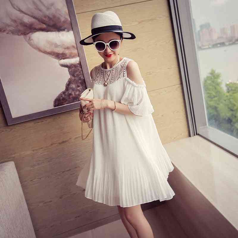 Summer Maternity Shirts, Pregnant Women Off Shoulder Long Loose Pleated Blouses