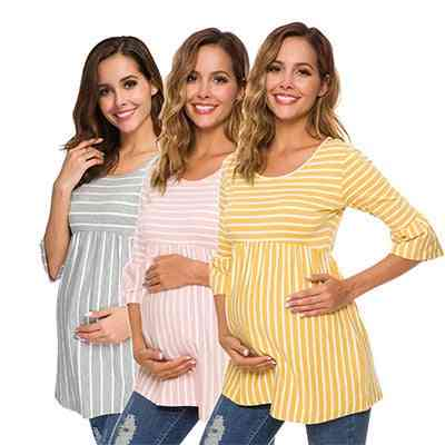 Ruffle Maternity Tops / Loose Pregnancy Blouse / Striped T-shirt