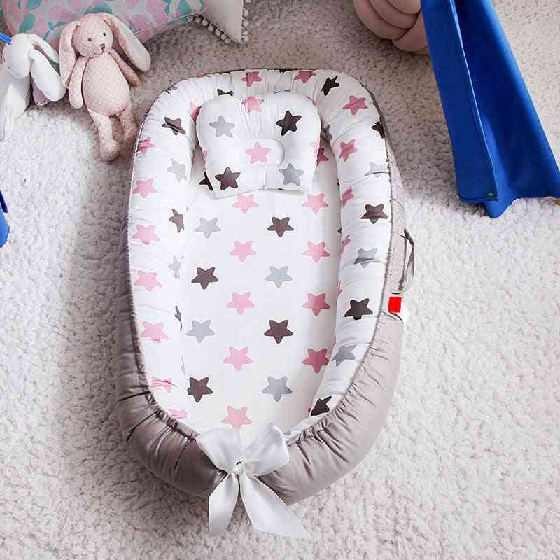 Portable Baby Nest Bed With Pillow -foldable Crib