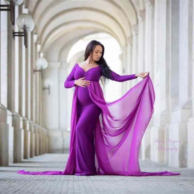 Maternity Photography Long Dress With Cloak Fitted Pregnancy Dresses