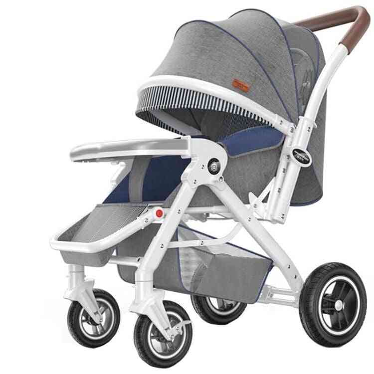 Baby Stroller Can Sit Reclining, Lightweight & Folding Four Wheeled For