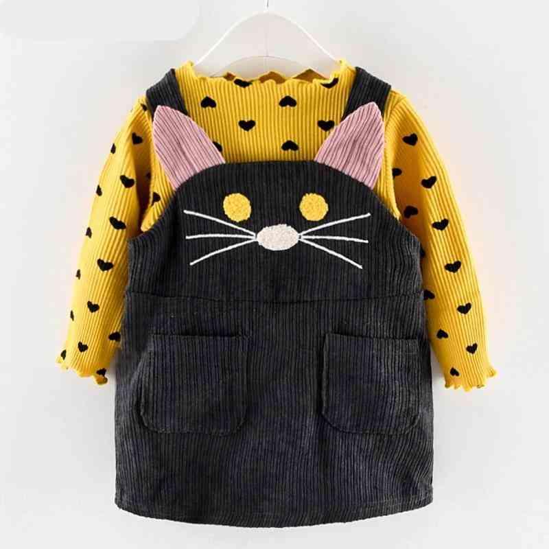 Fall Winter Spring Clothes Sets -autumn Cotton, Long Sleeves Dot T-shirt+cat Strap Dress