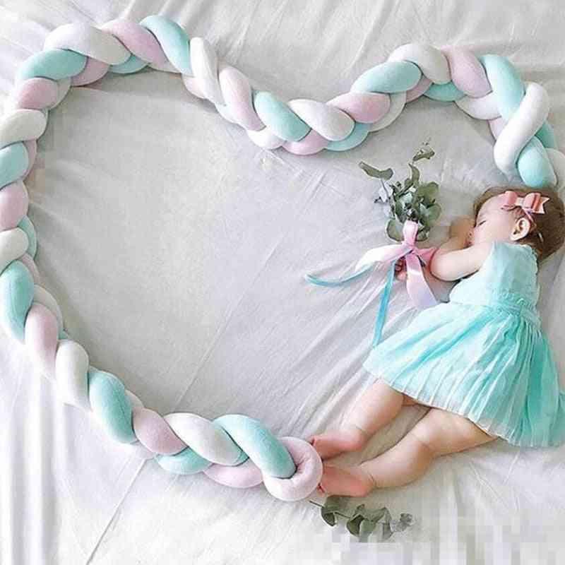 New Born Baby Braid Knot Manual Bumper, Crib Pillow Bedding Set