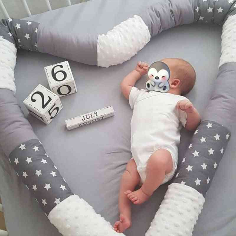Baby Crib Bumper- Bed, Safe Long Cotton Patchwork Pillow