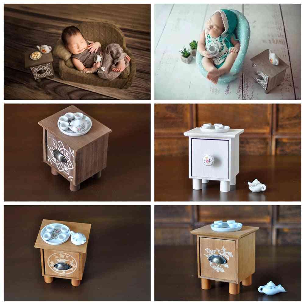 Geometric Pattern Mini Newborn Baby Chair Decoration Tea Table Set
