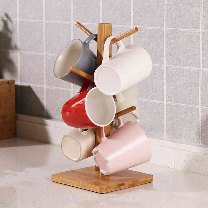 Wooden Coffee Cup Holder-tree Shape Rack Storage
