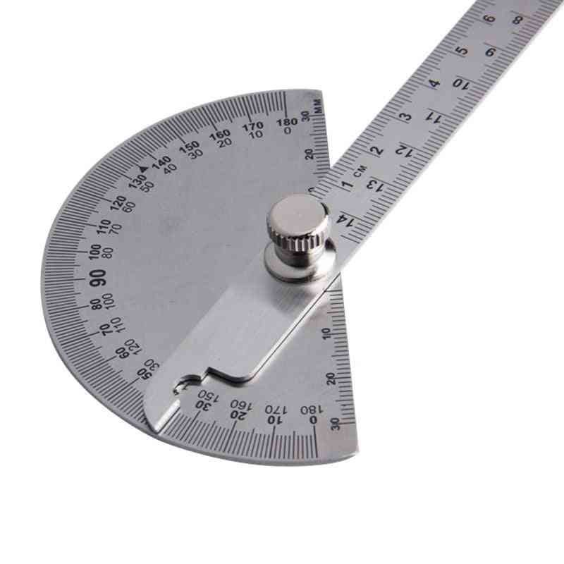 Stainless Steel Round Head Protractor, Measuring Ruler Tool