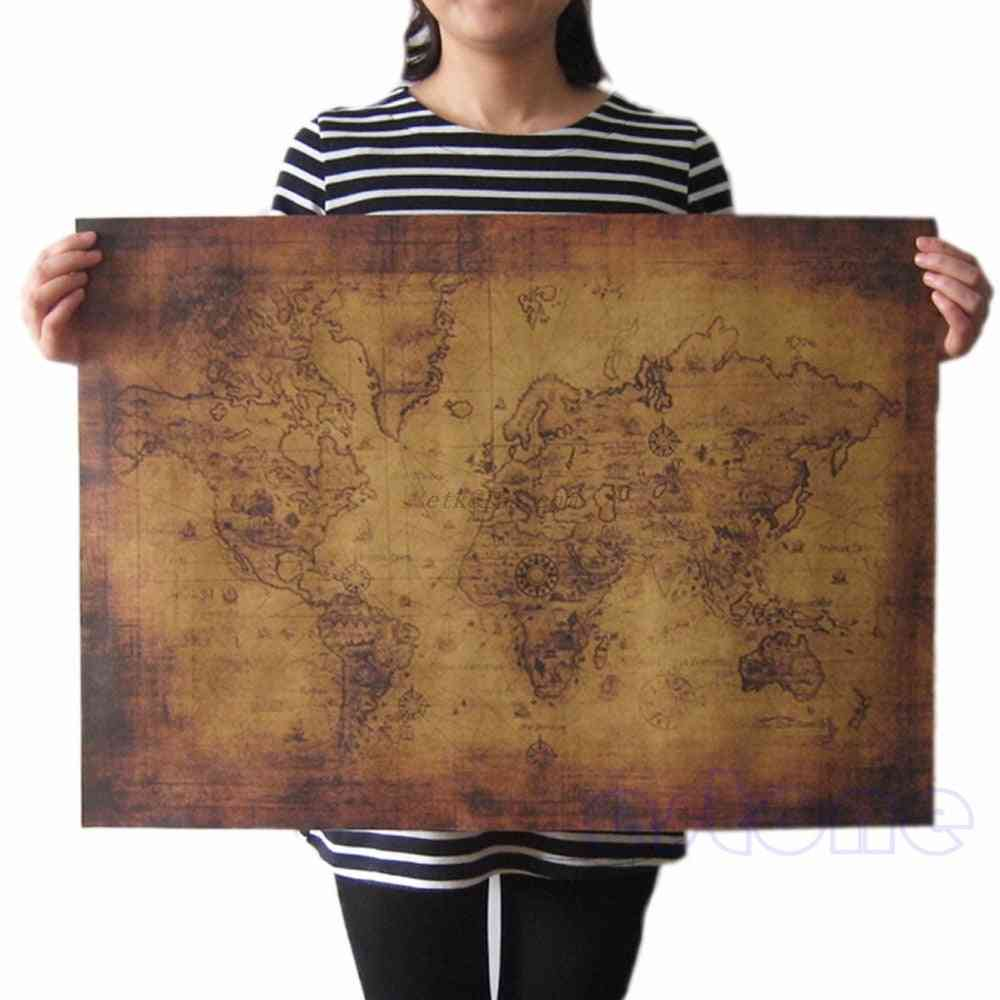 Vintage Style Retro Paper Poster, Globe Old World Map