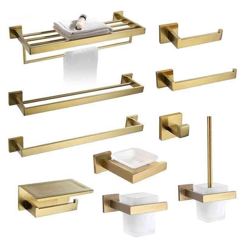 Brushed Bathroom Accessories Hardware Set, Towel Bar Rail, Rack, Paper Holder, Soap Dish Toilet Brush