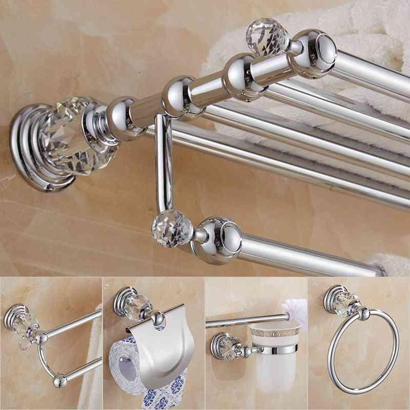 Brass Shower Shelf, Wall Mounted Towel Bar, Toilet Brush & Paper Holder Bathroom Accessories Set