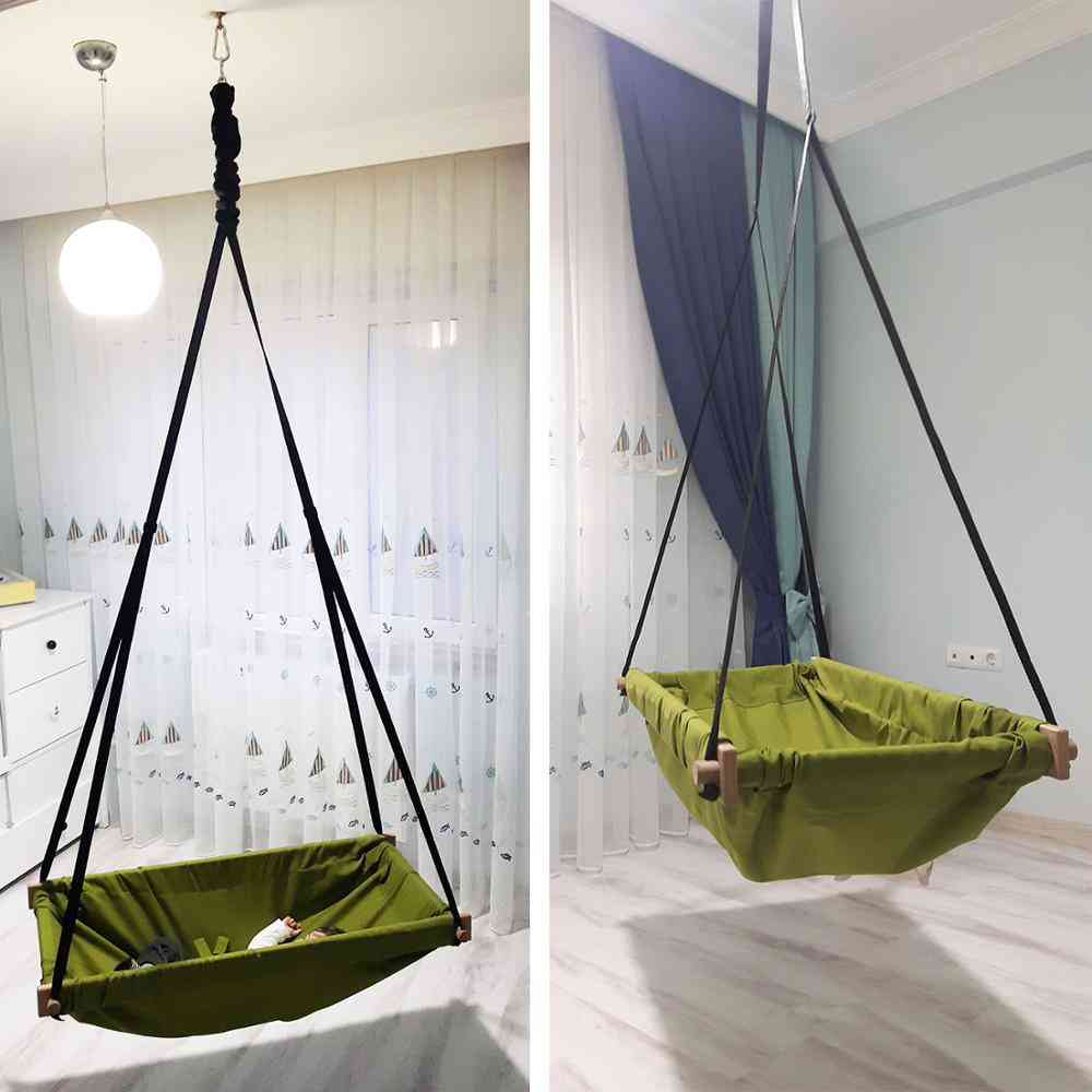 Hanging Baby Wooden Porch Swing Hammock Cradle For Indoor & Outdoor