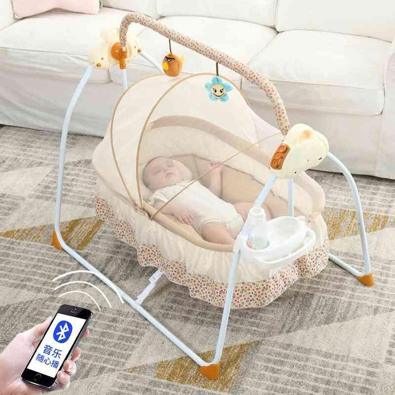 Multifunction Foldable Newborn Electric Mental Cradle Bassinet Bed With Music Multi-range Adjustment