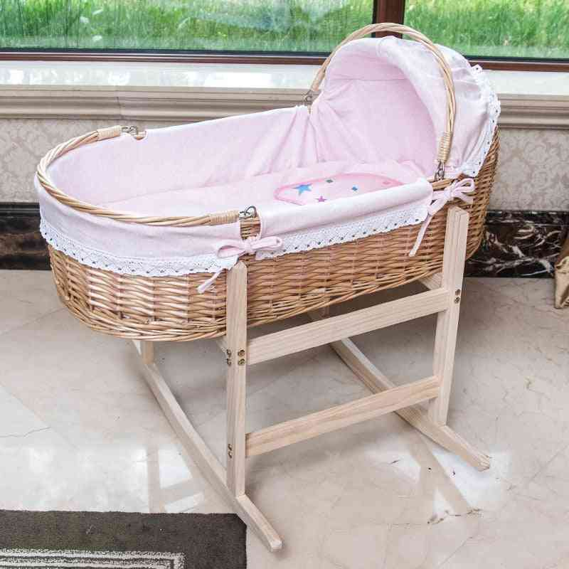 Baby Portable Wooden Cradle Bed With Roller
