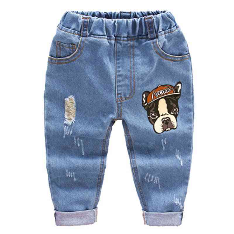 Cartoon Printed With Ripped Holes Jeans