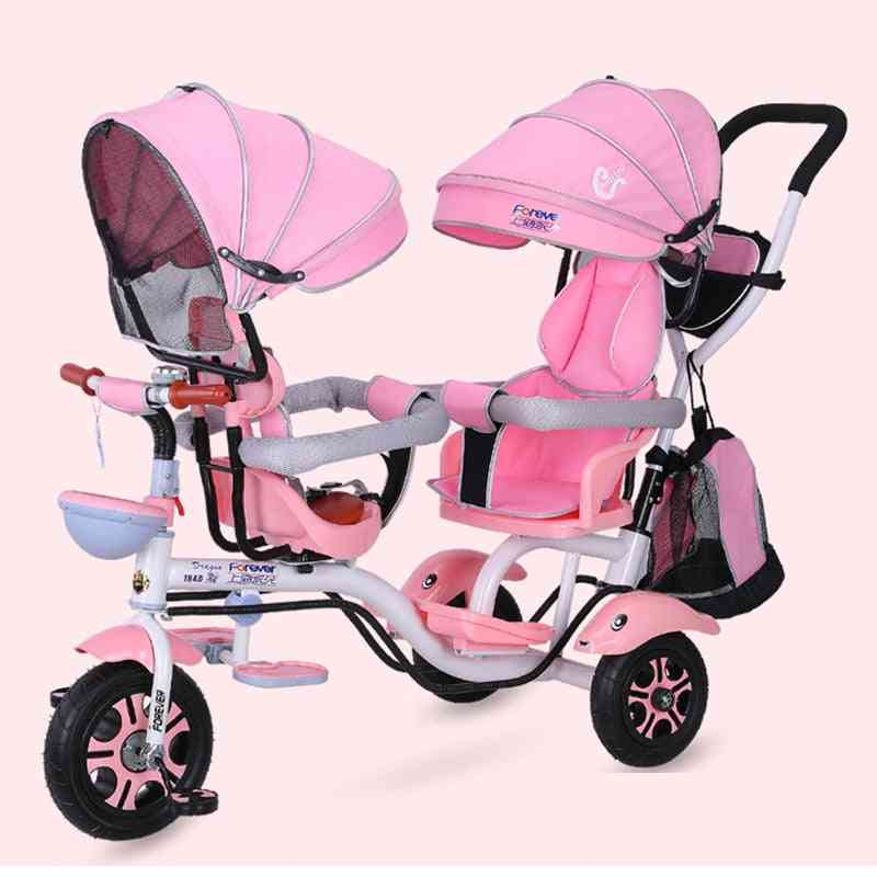 4 In 1 Twin Baby Stroller- Double Seat Bicycle For Kids