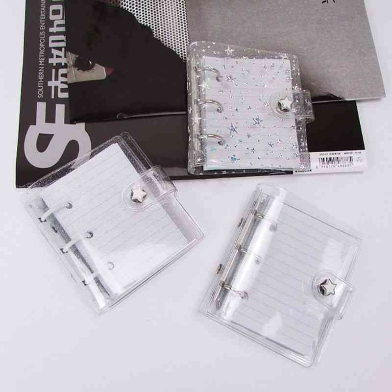 Mini Pvc Transparent Smooth Notebook Cover Binder With 3 Holes
