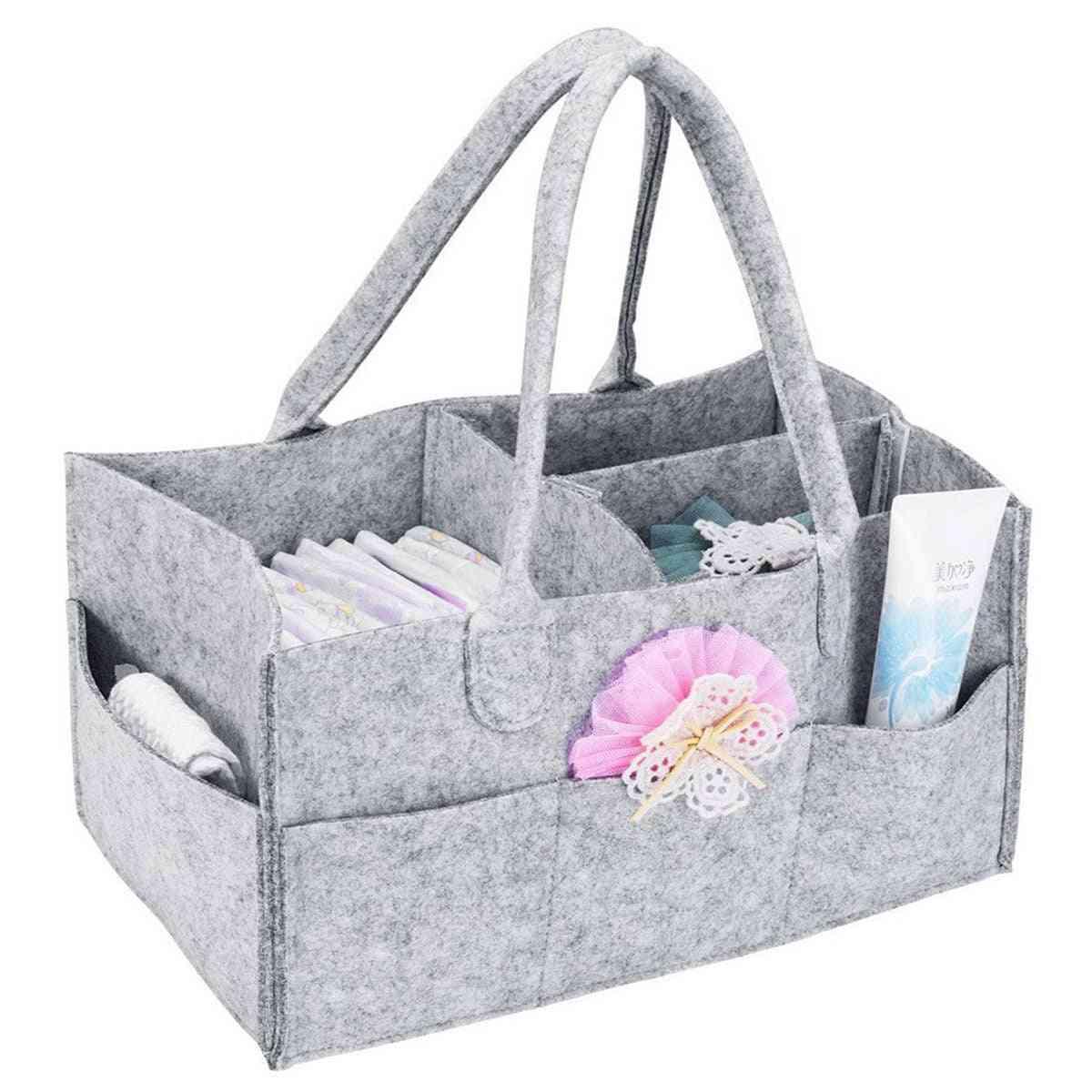 Baby Diaper Caddy Nursery Wipes Handbag, Portable Basket Nappy Organizer