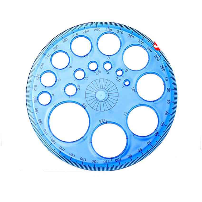 360 Degree Plastic Protractors For Angle Measurement- Circle Drawing Template