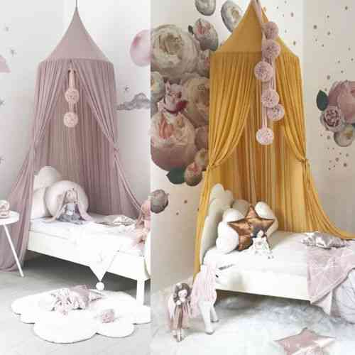 Princess Baby Mosquito Net Bed, Kids Canopy Bedcover Curtain