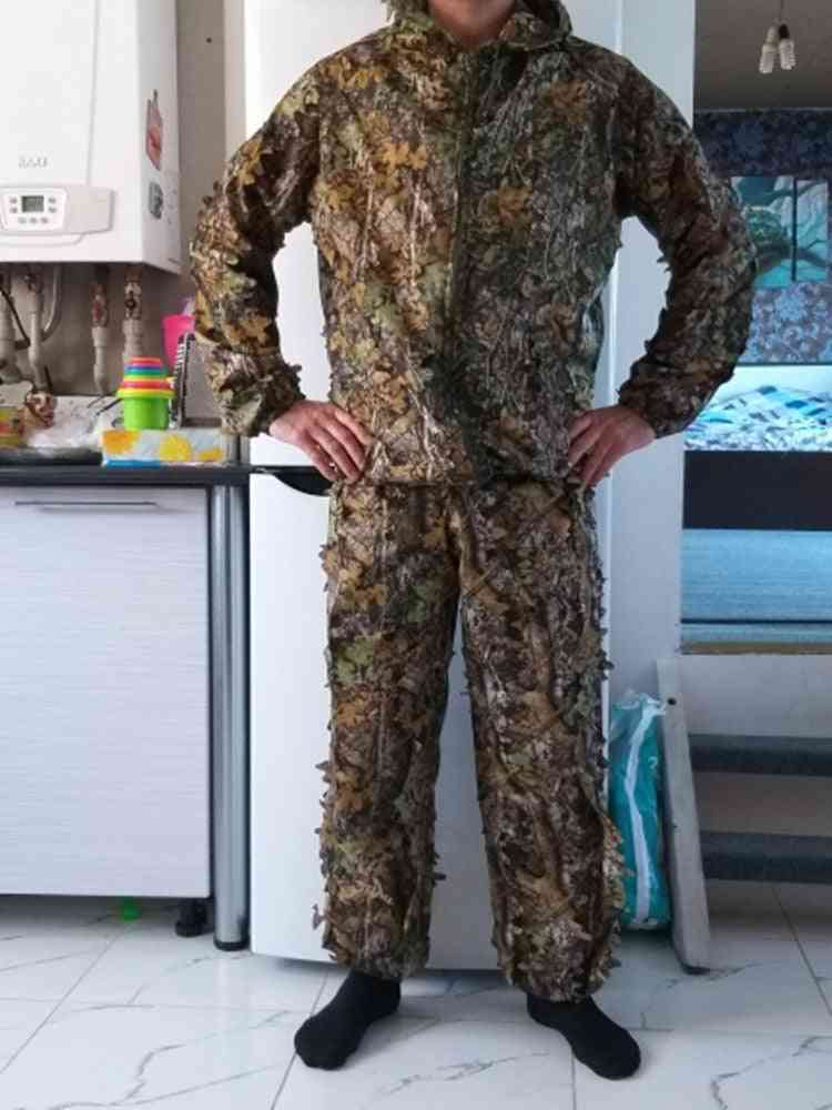 Outdoor Hunting Jacket- 3d Maple Leaf Bionic Ghillie Suits, Yowie Sniper Light Camouflage Clothing Suit