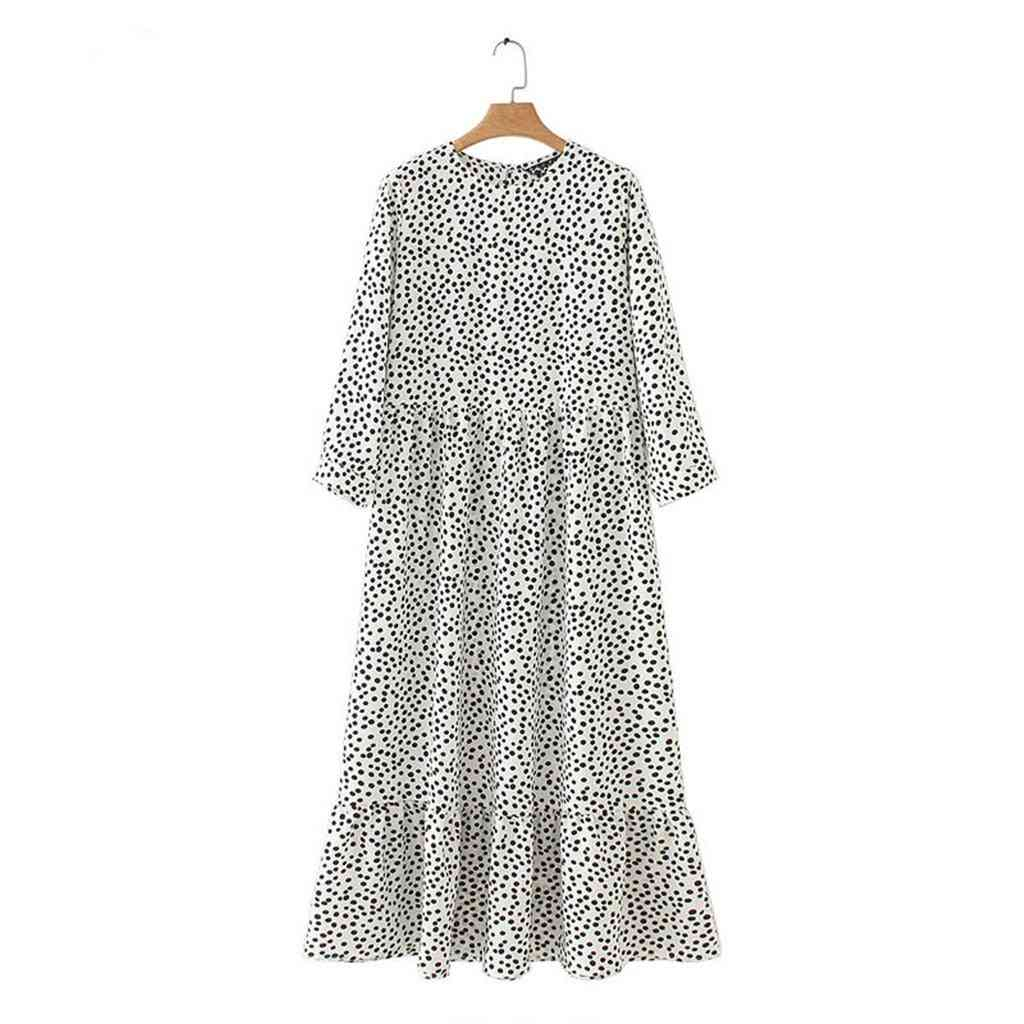Floral Print Loose Dress, Women O-neck Polka Dot Casual Ruffle Flowy Plus Size Dresses