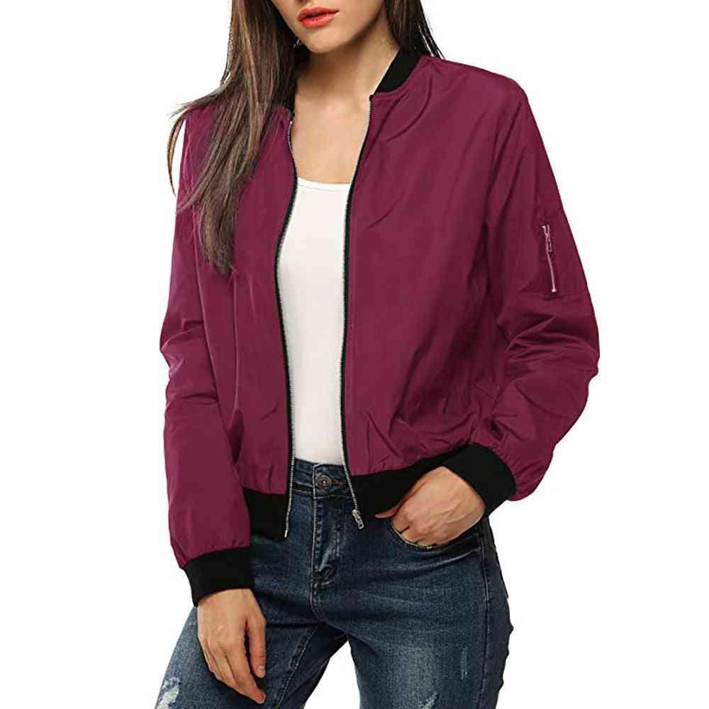 Bomber Jacket Coat, Women Sports Running Training Pocket Zipper, Long Sleeve Fitness Outdoor Tops