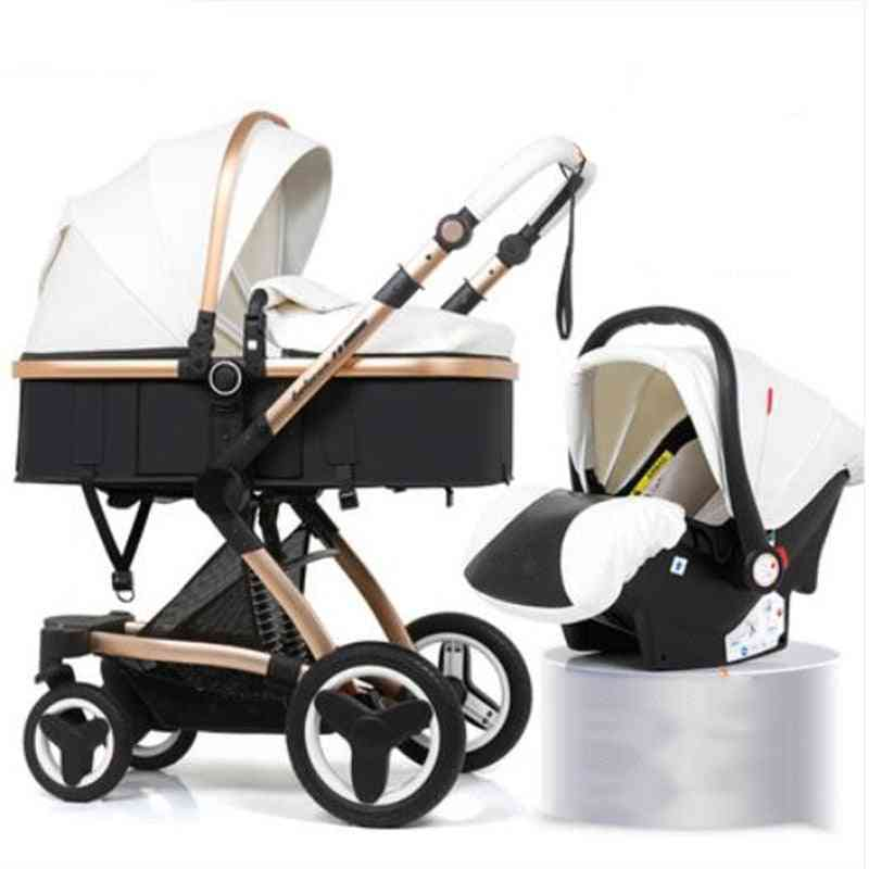 Baby Stroller 2 In 1/ 3 In 1 High Landscape, Eco Leather Shock Absorber Four Wheel Trolley