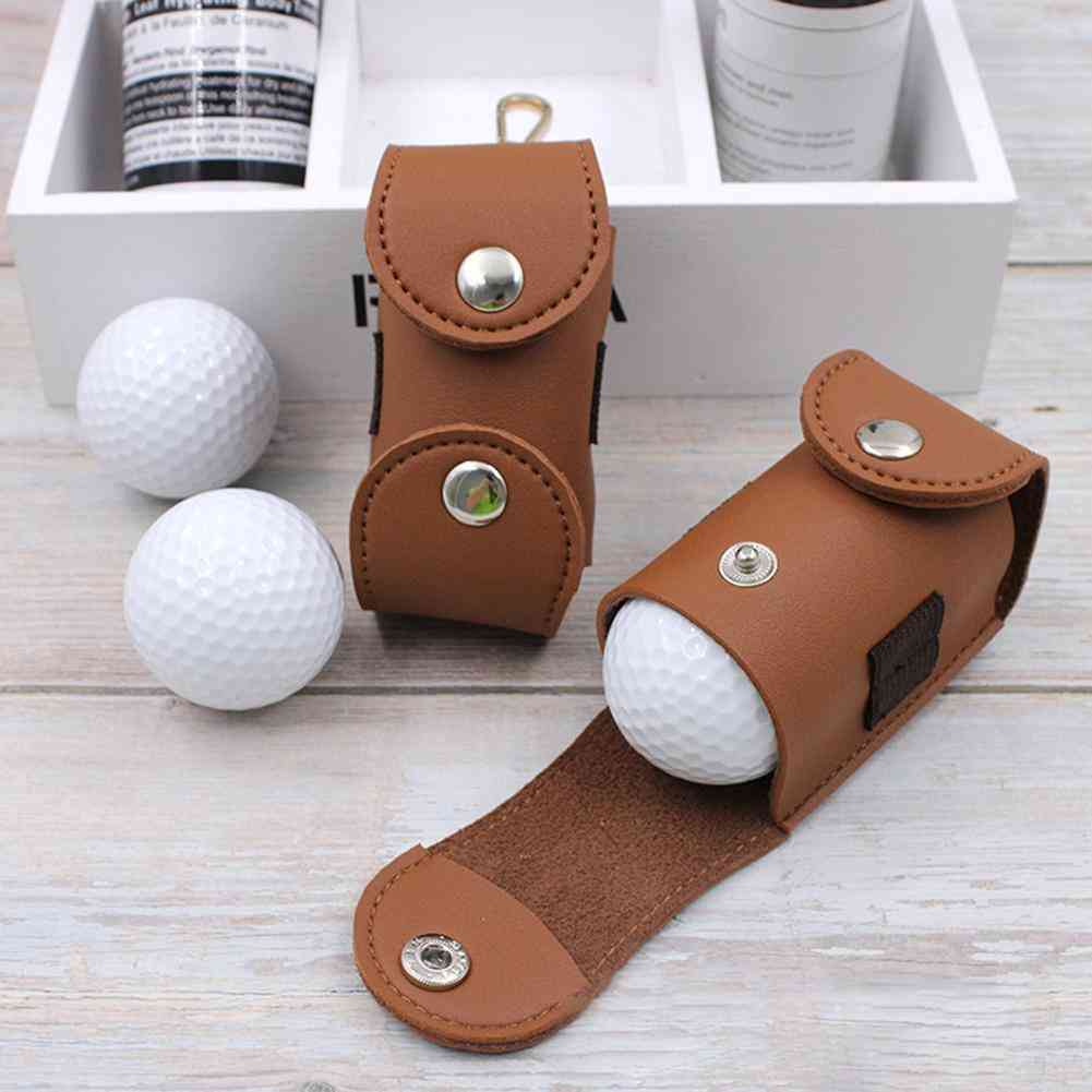 Portable Faux Leather Golf Ball Tees Holder- Storage Bag