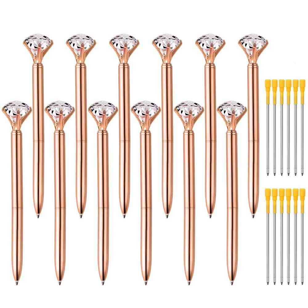 Metal Diamond Crystal Pencil Rotating Pen With Case Box Bag Stationery