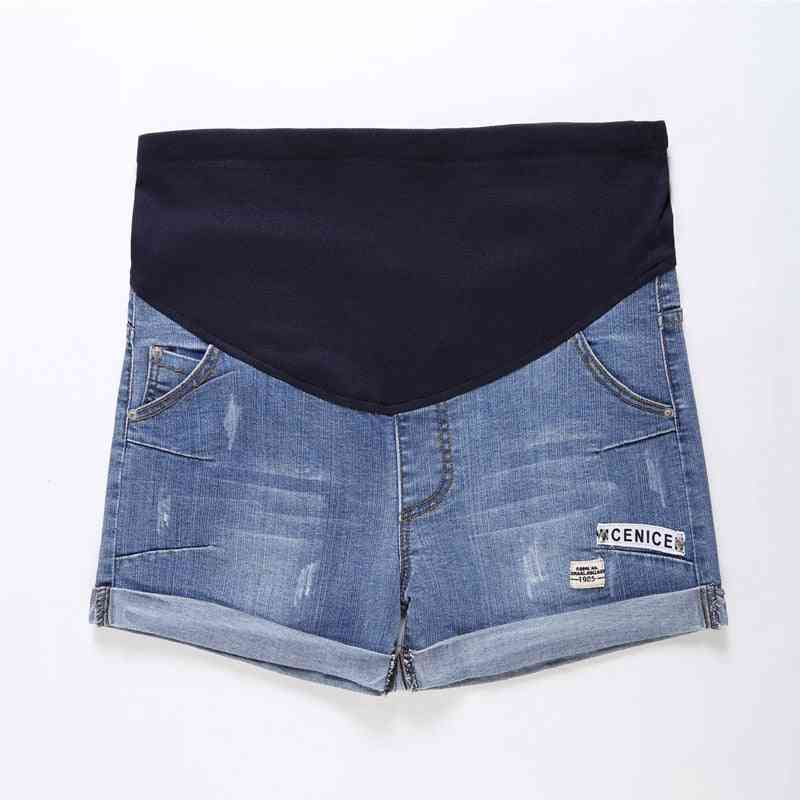 Women Maternity Denim Short -adjustable Elastic Pants