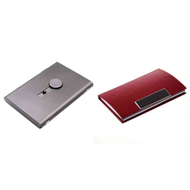 Ultra-thin, Metal Push-type And Pu Leather Business Card Case