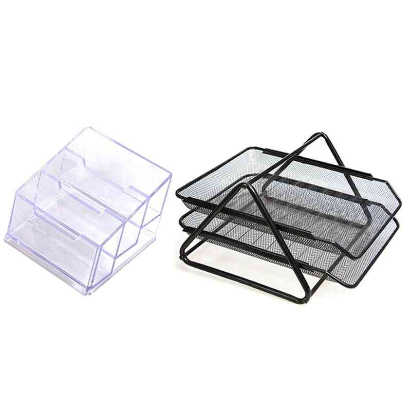 Business Card Holder And A4 Double Layer File Tray