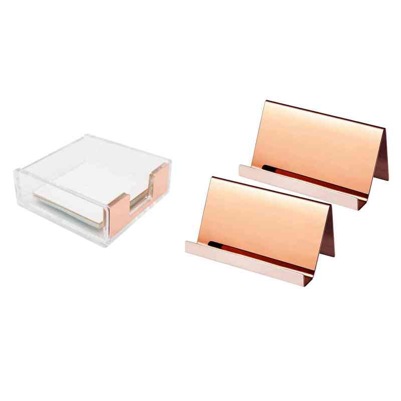 Stainless Steel Business Cards Holders, Clear Acrylic Rose Gold Self-stick Note Pad Box