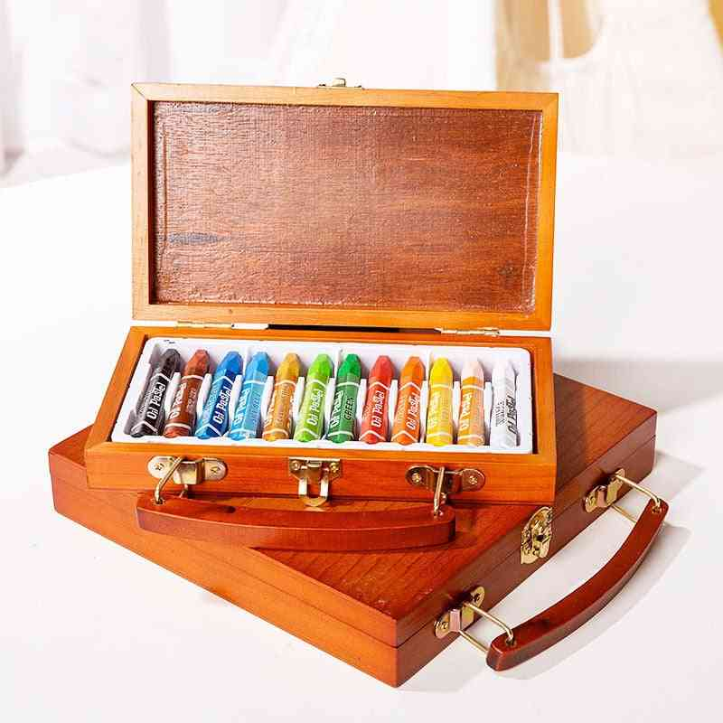Non-toxic Oil Pastels -soft Crayon Set With Wooden Box