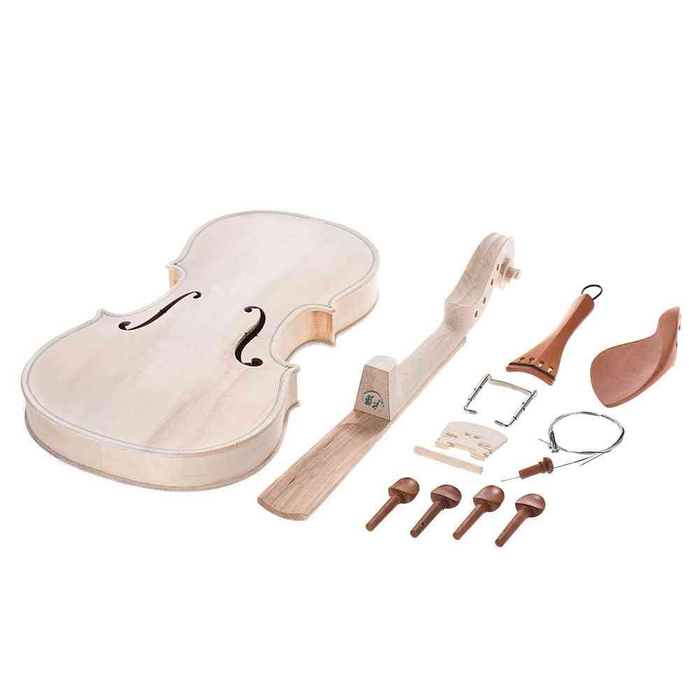 Diy Full Size Natural Solid Wood Violin Fiddle Kit With Eq Spruce Maple Neck Fingerboard Ebony