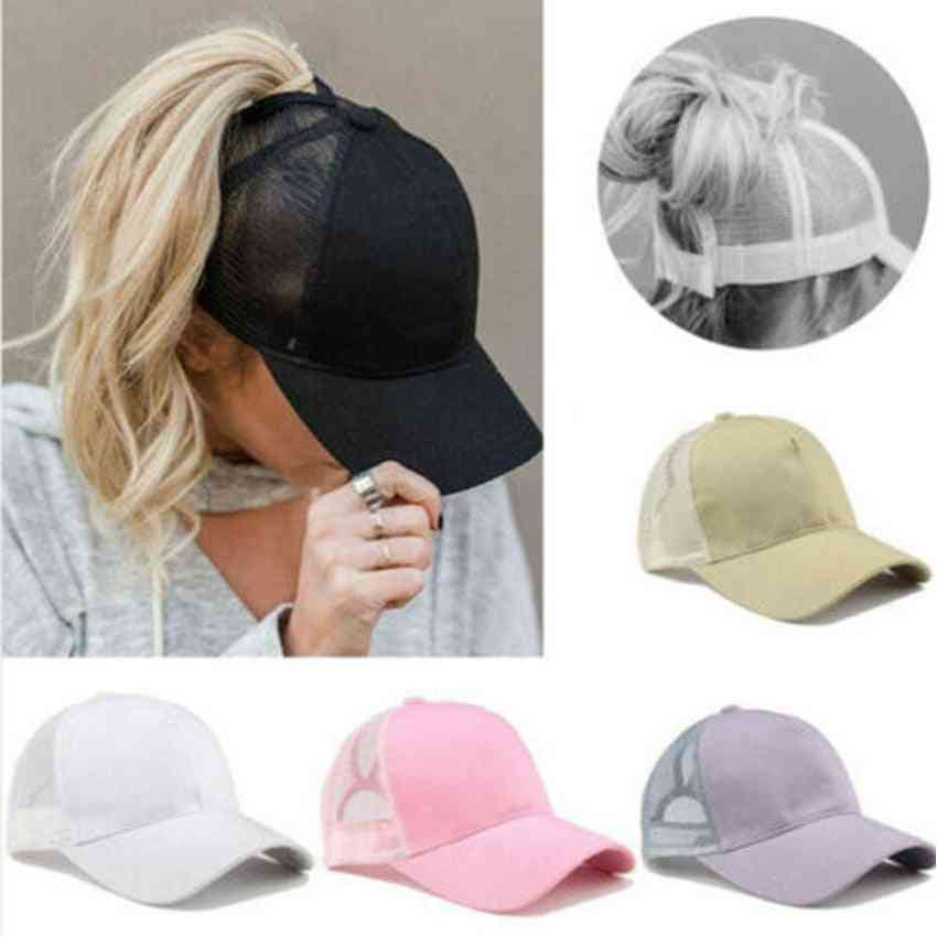 Women Baseball Cap-adjustable Ponytail Summer Mesh Hat