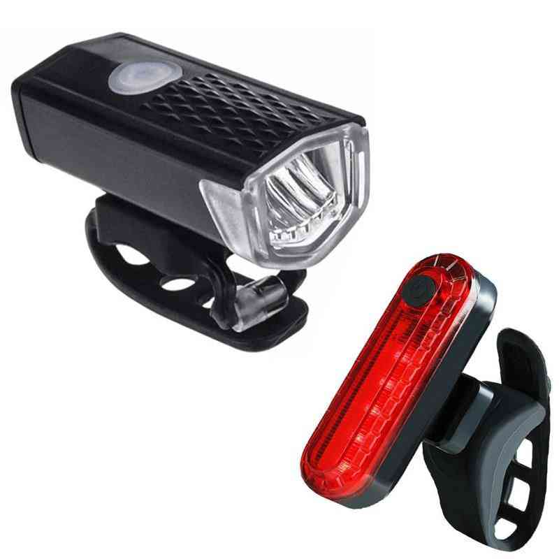 Led Usb Rechargeable -300 Lumens Headlight And Taillight For Cycle/bike