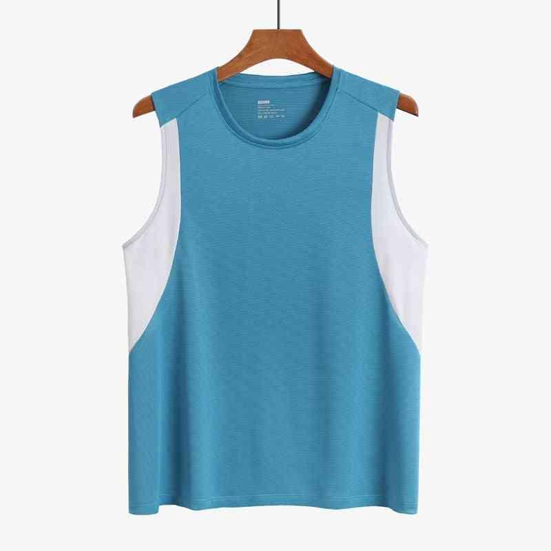 Men's Polyester Tank Tops, Patchwork Running Vest