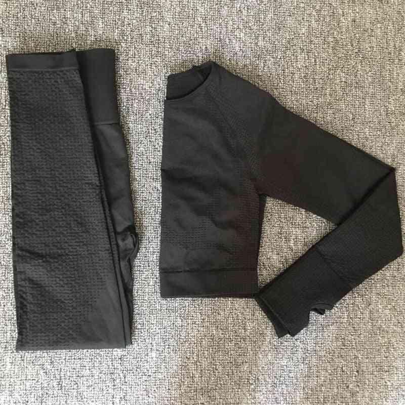 Women Seamless Yoga Set- Long Sleeve Shirts & High Waist Running Leggings