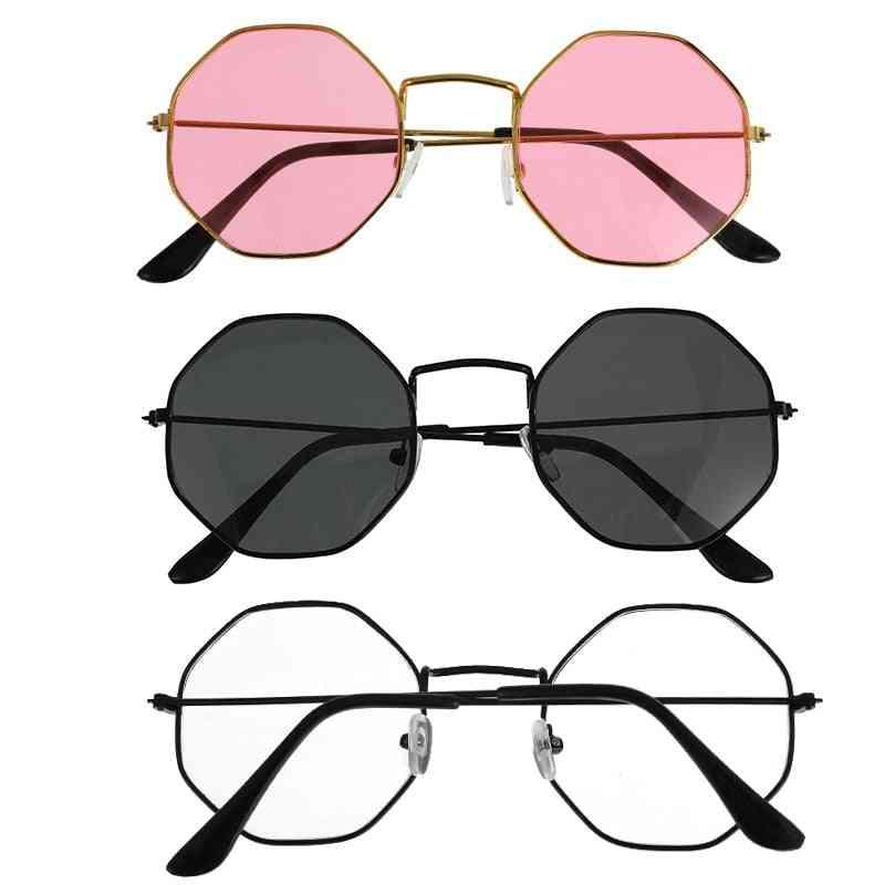 High Quality Unisex Retro Polygon Sunglasses,  Female Metal Frame Eyeglasses