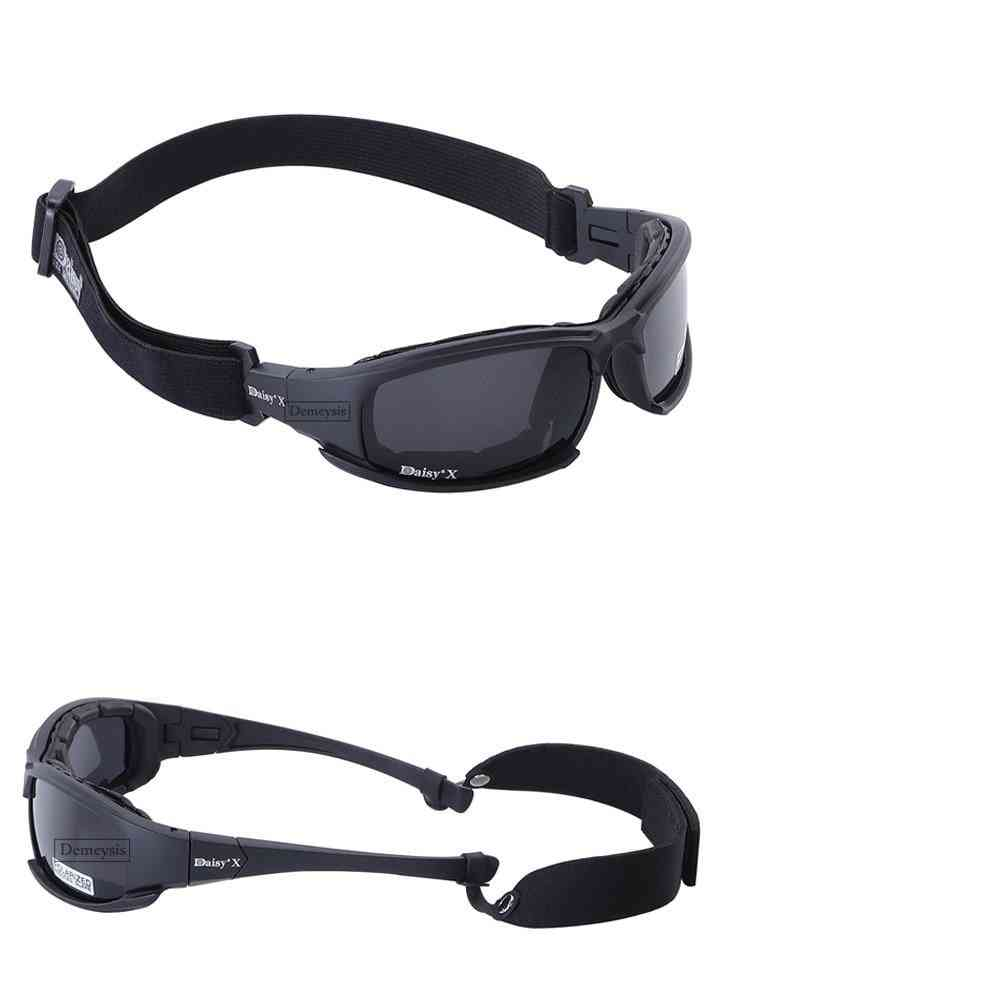 Tactical Camouflage Men's Polarized Glasses, Military Shooting Hunting Goggles -4 Lens Kit