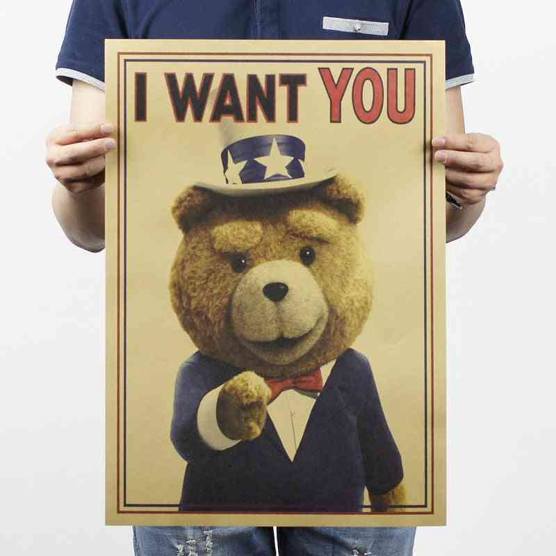 I Want You Teddy-bear Vintage Kraft Paper Classic Poster